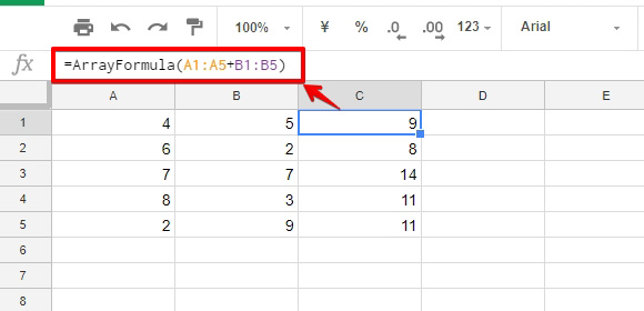 「C1」のセルへ、引数に四則演算を指定したARRAYFORMULA関数を入力したサンプルの画像