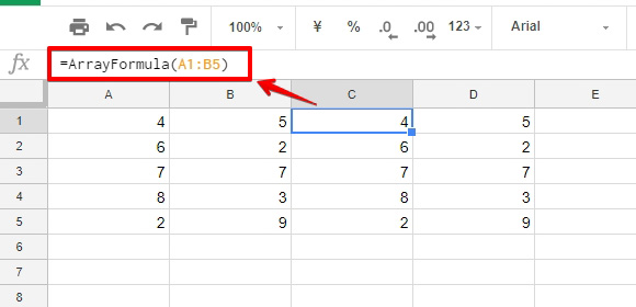 「C1」のセルへ、引数に範囲のみを指定したARRAYFORMULA関数を入力したサンプルの画像