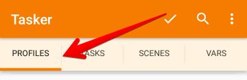 TaskerアプリでPROFILESタブを選択した状態の画像