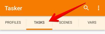 TaskerアプリでTASKSタブを選択した状態の画像