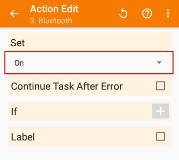 「Net」>「Bluetooth」の設定画面で「Set」を「On」に設定した画像