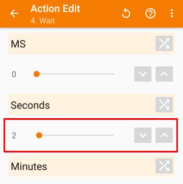 「Task」>「Wait」の設定画面から、「Seconds」を「2」に設定した画像