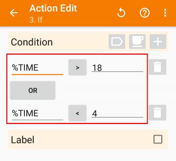 「Task」>「If」の設定画面から、「Condition」を設定した画像