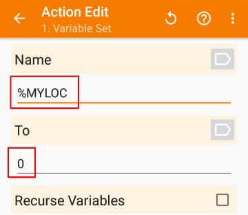 「Variables」>「Variable Set」の設定画面から、「Nmae」の欄に「%MYLOC」を入力し、「To」の欄に「0」を入力した画像
