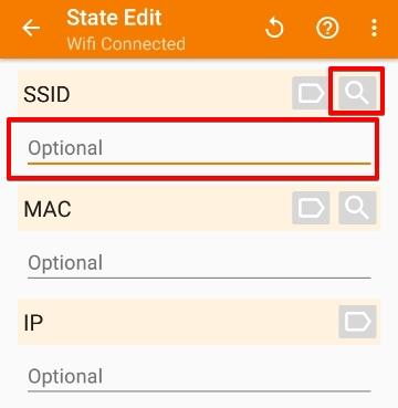 「State」>「Net」>「Wifi Connected」の設定画面から、Wi-Fiの指定ができます。例えば、「SSID」の欄にSSID名を直接入力するか、虫眼鏡のアイコンから、近くのWi-FiのSSID名を検索できます。