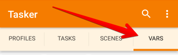 TaskerアプリのVARSタブを選択した状態の画像