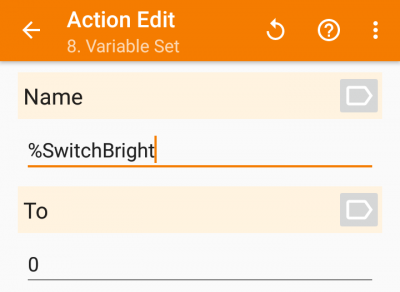 アクション「Variable Set」設定画面