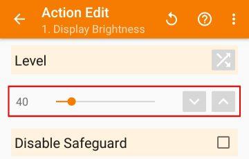 アクション「Display Brightness」の設定画面
