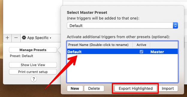 「Manage Presets」画面の画像