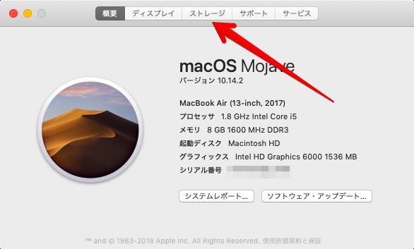「このMacについて」を選択すると表示されるウィンドウの画像