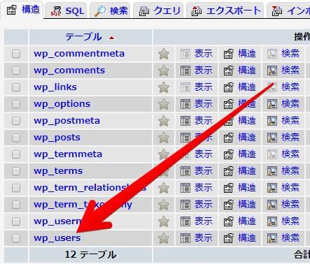 WordPressのテーブル一覧の画像