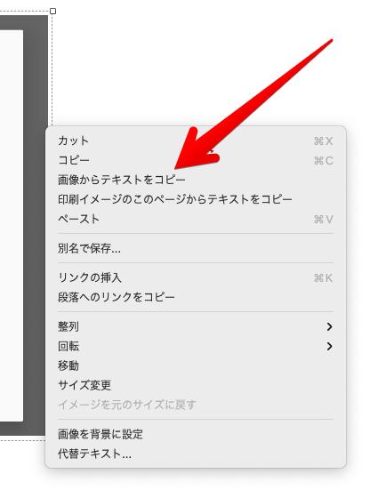 画像を右クリックして表示されるコンテキストメニュー